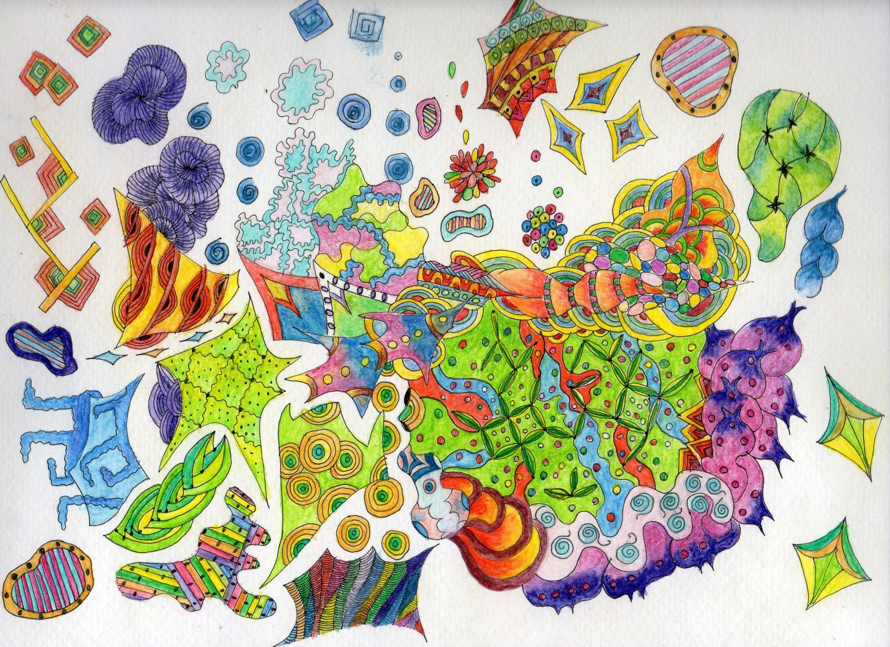 Watercolour and inktense pencils zentangle the journal of a zentangle inktense pencil gumiabroncs Images