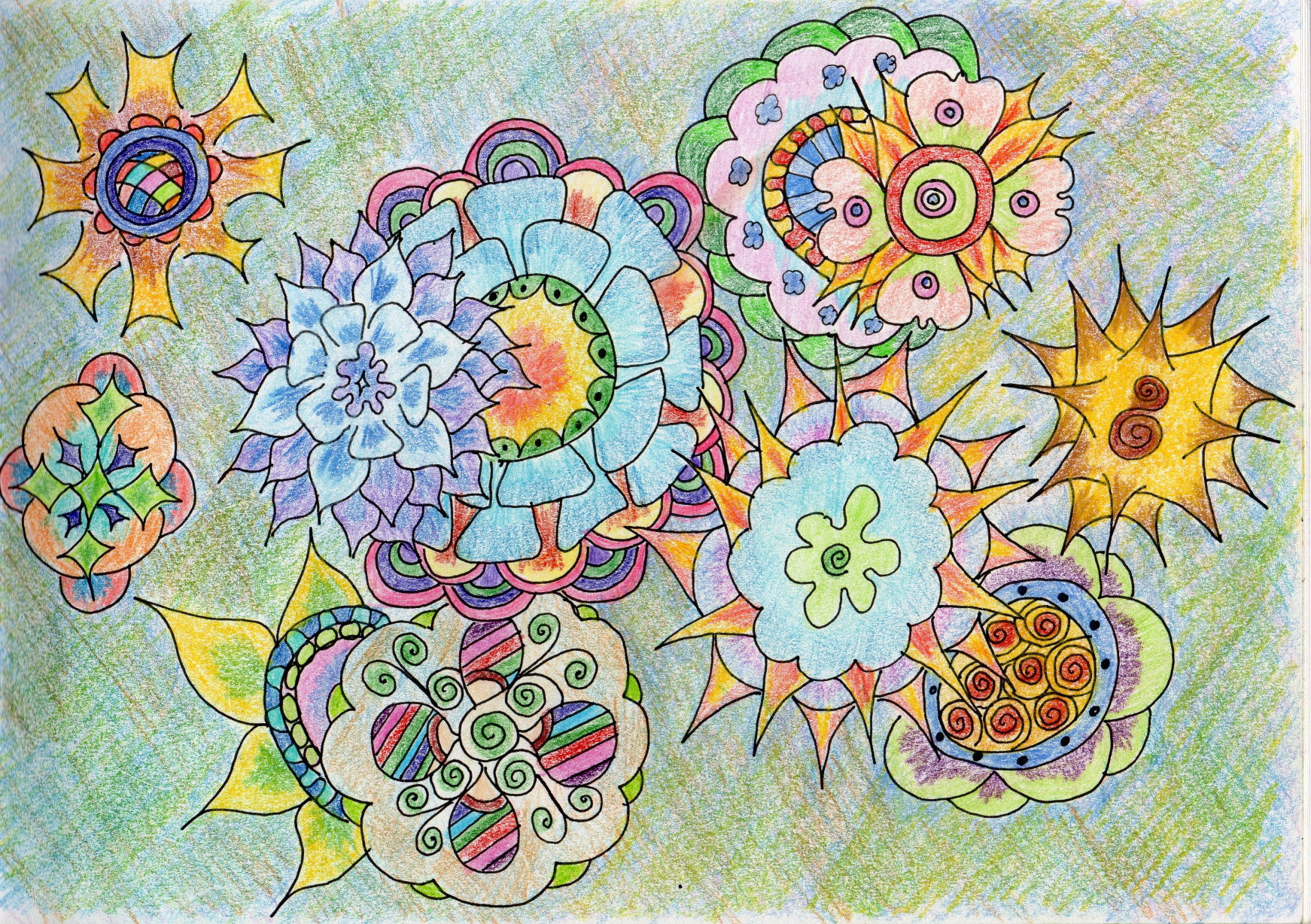 Zen doodle colour - The Above Is One Of My Latest Doodle Zentangles Rendered In A Variety Of Coloured Pencils Including Watercolour Pencil And Derwent Metallic Pencils For The